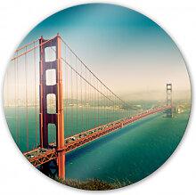 Wandbilder - Glasbild Die Stadt an der Bucht - rund