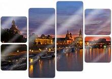 Wandbilder - Glasbild Dresden im Nachtlicht