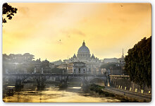 Wandbilder - Glasbild Engelsbrücke mit Petersdom