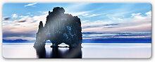 Wandbilder - Glasbild Felsen im Meer - Panorama