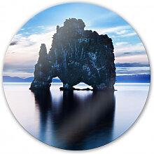 Wandbilder - Glasbild Felsen im Meer - rund
