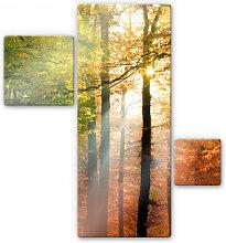 Wandbilder - Glasbild Goldener Herbst (3-teilig)