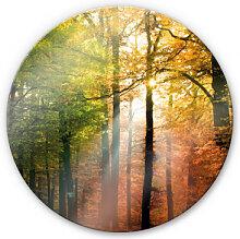 Wandbilder - Glasbild Goldener Herbst - rund