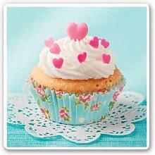 Wandbilder - Glasbild Hearts on Cupcake -
