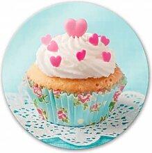 Wandbilder - Glasbild Hearts on Cupcake - rund