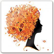 Wandbilder - Glasbild Herbst Blätterhaar