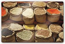 Wandbilder - Glasbild Indischer Markt