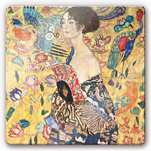 Wandbilder - Glasbild Klimt - Dame mit Fächer