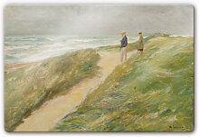 Wandbilder - Glasbild Liebermann - Am Strand von