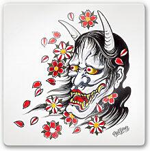 Wandbilder - Glasbild Miami Ink Hannya Maske