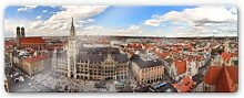 Wandbilder - Glasbild Münchener Skyline Panorama