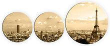 Wandbilder - Glasbild Paris Skyline (3-teilig) -