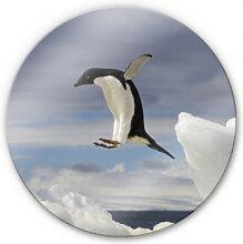 Wandbilder - Glasbild Pinguin Fly - rund
