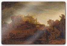 Wandbilder - Glasbild Rembrandt - Landschaft mit