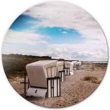 Wandbilder - Glasbild Strandkörbe auf Hiddensee - rund