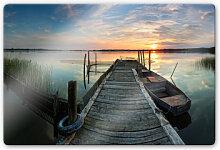 Wandbilder - Glasbild Sunset at the lake