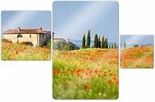 Wandbilder - Glasbild Toskana Panorama (3-teilig)