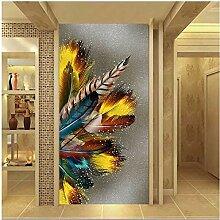 Wandbilder Golden Feather Print Poster Abstrakte