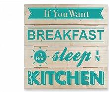 Wandbilder - Holzbild If you want Breakfast -türkis-