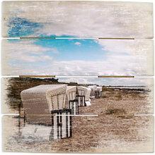Wandbilder - Holzbild Strandkörbe auf Hiddensee