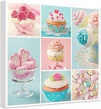Wandbilder - Leinwandbild Cupcake Collage