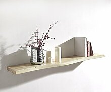 Wandboard Live-Edge Akazie Gebleicht 100 cm Massivholz Baumkante Wandregal