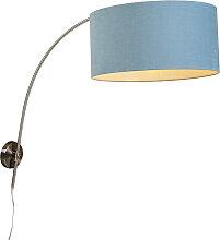 Wandbogenlampe Stahl mit Schatten blau 50/50/25