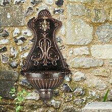 Waschbecken Löwe Wandbrunnen Garten Alu Becken Brunnen grün antik Stil
