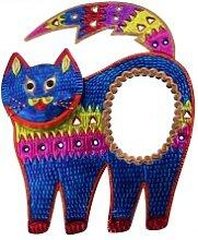 Wanddeko / Deko-Wandspiegel Katze blau