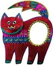 Wanddeko / Deko-Wandspiegel Katze rot