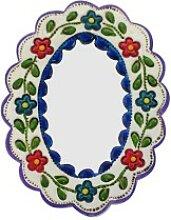 Wanddeko / Deko-Wandspiegel klein blau