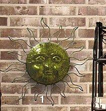 Wanddeko Sonne Gold, Gartendeko im Landhaus Stil, Gartenfigur aus Eisen