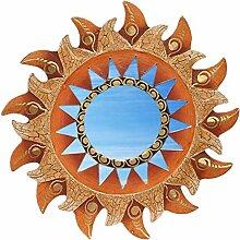 Wanddeko Spiegel Feng Shui Symbol Sonne aus Holz, handbemalt braun gold, Ø 30/40/50/60 cm, Wandschmuck Dekospiegel Solarplexus Chakra, Durchmesser:30 cm
