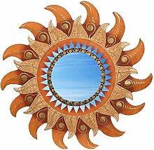 Wanddeko Spiegel Feng Shui Symbol Sonne aus Holz, handbemalt braun gold, Ø 30/40/50/60 cm, Wandschmuck Dekospiegel Solarplexus Chakra, Durchmesser:40 cm