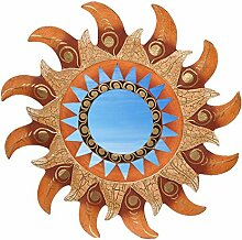 Wanddeko Spiegel Feng Shui Symbol Sonne aus Holz, handbemalt braun gold, Ø 30/40/50/60 cm, Wandschmuck Dekospiegel Solarplexus Chakra, Durchmesser:50 cm