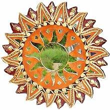 Wanddeko Spiegel Feng Shui Symbol Sonne, Holz mit Spiegelmosaik und Glasmosaik braun rot, Ø 30/40/50/60 cm, Wandschmuck Dekospiegel Solarplexus Chakra , Durchmesser:30 cm