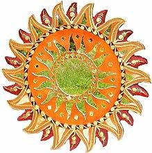 Wanddeko Spiegel Feng Shui Symbol Sonne, Holz mit Spiegelmosaik und Glasmosaik braun rot, Ø 30/40/50/60 cm, Wandschmuck Dekospiegel Solarplexus Chakra , Durchmesser:40 cm