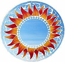 Wanddeko Spiegel Matahari Feng Shui Symbol Sonne, Holz mit Spielgelmosaik und Glasmosaik rot gelb, Ø 20 / 30 / 40 cm, Wandschmuck Dekospiegel Solarplexus Chakra, Durchmesser:30 cm