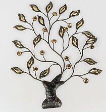 66cm grün silber Metall Formano Wanddeko Blätterbaum B Wandbild