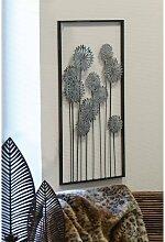 Wanddeko, Wandbild FLOWERS BLUMEN 62x31cm anitk silber Metall Casablanca (32,95 EUR / Stück)