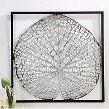 Wanddeko, Wandbild LEAF BLATT 42x42cm anitk silber Metall Casablanca (41,95 EUR / Stück)