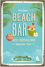 Wanddekoration Blechschild - Beach Bar | 30x45cm