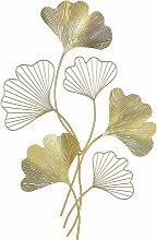 Wanddekoration Gold Metall mit Blättermuster