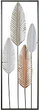 Wanddekoration Gold/Silber aus Metall Blätterform