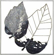 Wanddekoration schwarz/grau/gold aus Metall