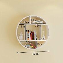 Wanddekorativ Wall Shelf Creative Circular Lattice Wand hängen Bücherregal Wohnzimmer Schlafzimmer Hintergrund Wanddekoration Regal Wandhalterung Regal ( Farbe : A , größe : 60CM*44CM )