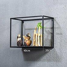 Wanddekorativ Wand-Regal Retro Eisen-Rahmen Wohnzimmer Hintergrund Wände Kreative Regal Wandhalterung Dekoration Wandhalterung Regal ( größe : 40CM*20CM*30CM )