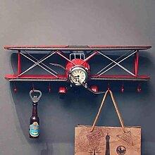 Wanddekorativ Wanddekorationen Retro Flugzeugmodell-hängendes Büro-Stab-Geschäft Wand-hängender Haken-Dekoration-Wand-Regal 42 * 16 * 16CM Wandhalterung Regal