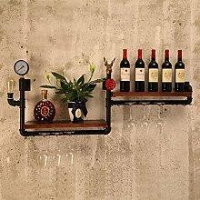 Wanddekorativ Wandregale LOFT Retro Eisen Wasserpfeife Bücherregale Topf Ausstellungsstand Weinregal Wohnzimmer Hintergrund Wand Zwei Ebenen Dekoration Regale Wandhalterung Regal