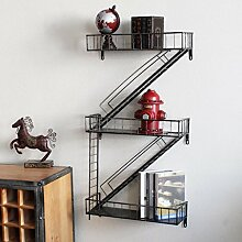 Wanddekorativ Wandregale Retro Industrie Wind Eisen Treppen Dekorationen Coffee Shop Bar Wanddekoration Ornament Racks Wandhalterung Regal ( Farbe : B )